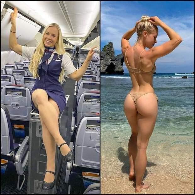 Стюардессы в рабочей форме и без нее