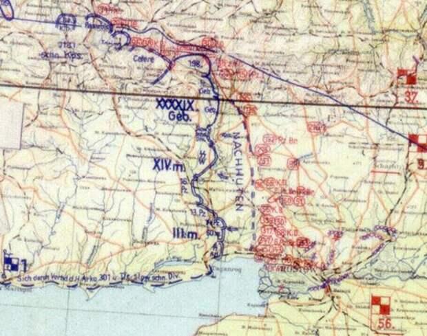 Фрагмент карты немецкого Генерального штаба сухопутных войск. Положение войск 1-й немецкой танковой армии на 1 декабря 1941 г.