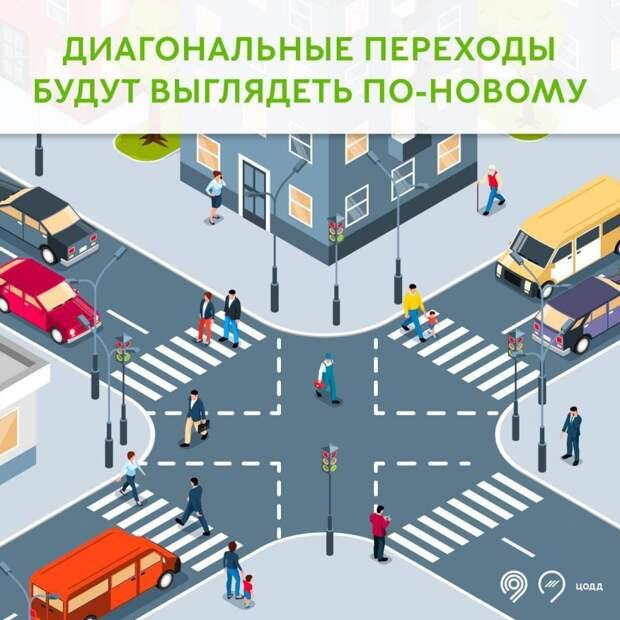 В Марьине два диагональных пешеходных перехода станут выглядеть по-новому