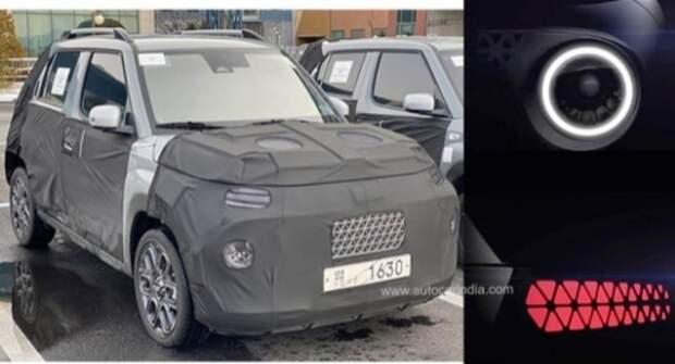 Hyundai впервые показал тизер нового компактного кросса AX1