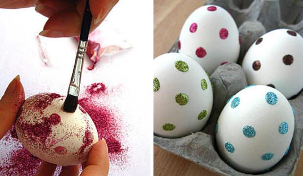 белые яйца в горошек из глиттера