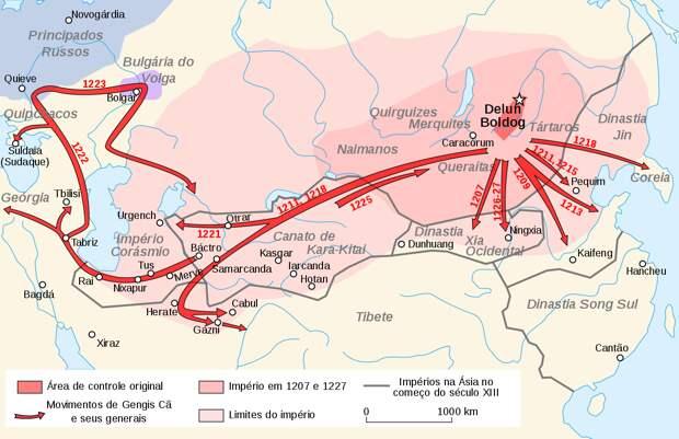 Когда и как территория Казахстана был захвачена монголами?