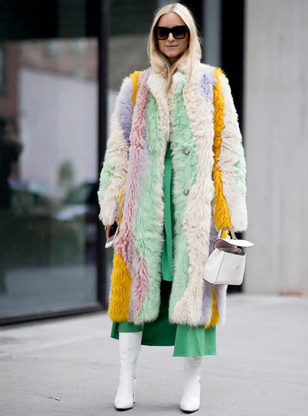 Шубы гостей Недели моды в Нью-Йорке