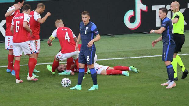 Эриксен потерял сознание во время матча Дания — Финляндия. Врачи использовали дефибриллятор (видео)