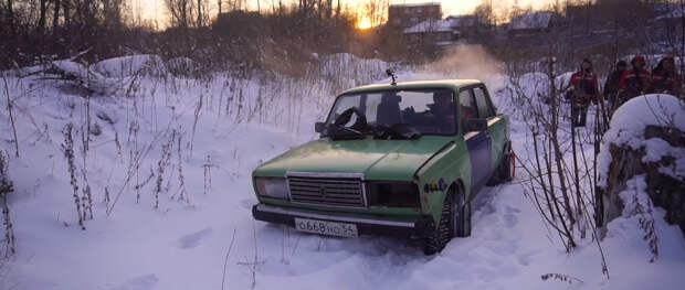 Сделали самодельный полный привод на Шестерку: выезжаем в снег