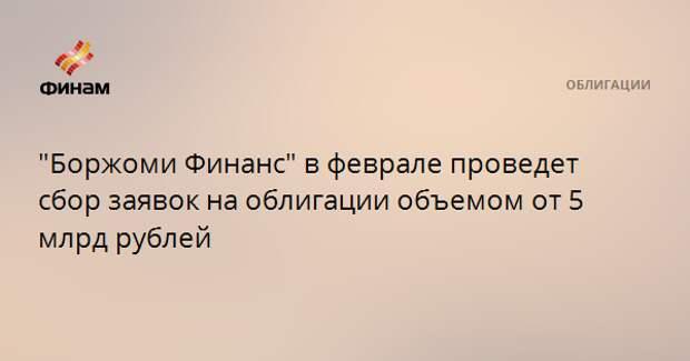 """""""Боржоми Финанс"""" в феврале проведет сбор заявок на облигации объемом от 5 млрд рублей"""