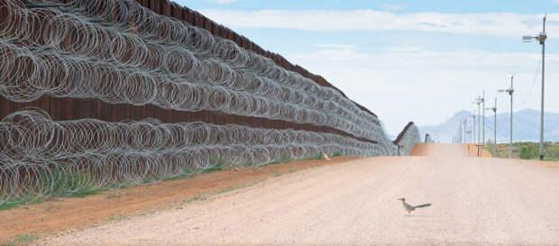 На границе США и Мексики.