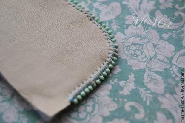 Красивая вышивка бисером края изделия 7