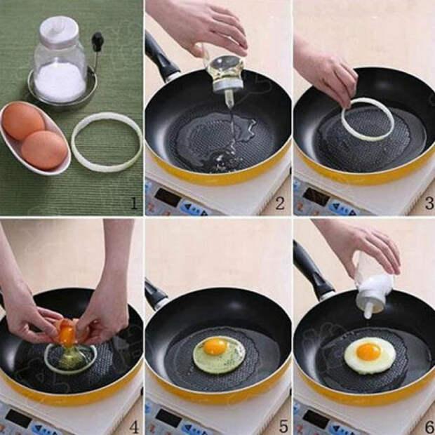 Используйте луковое кольцо, чтобы пожарить яичницу идеальной формы.