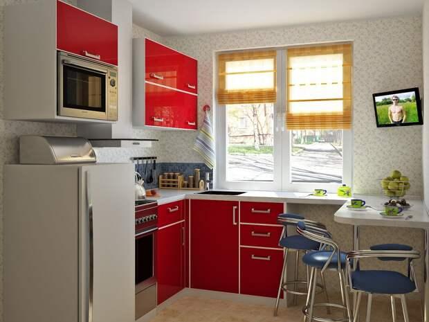 Использование пространства под окном на кухне