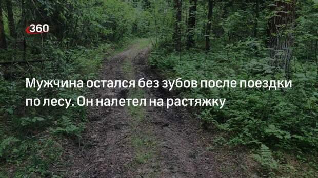 Мужчина остался без зубов после поездки по лесу. Он налетел на растяжку
