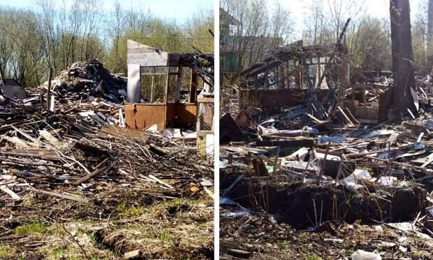 Жителю Архангельска приходится жить на свалке – после сноса соседнего дома мусор так никто и не вывез. Фото  Сергея Абакумова.