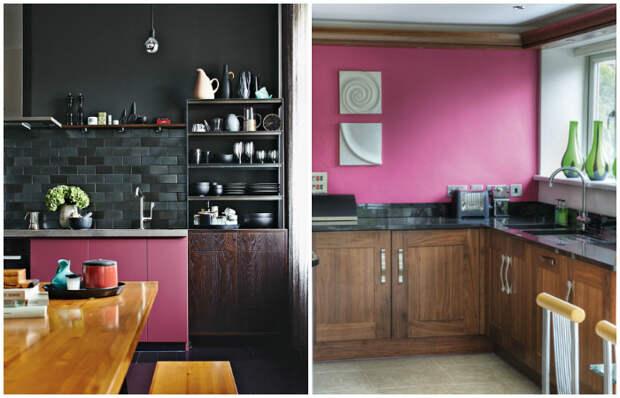 Кухня с розовыми деталями.
