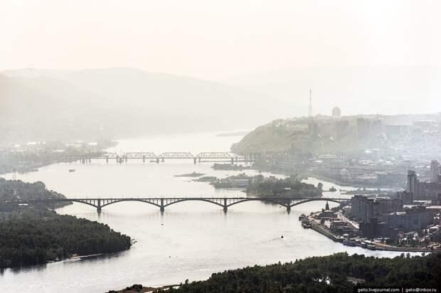 Красноярск и красноярские «Столбы» с высоты