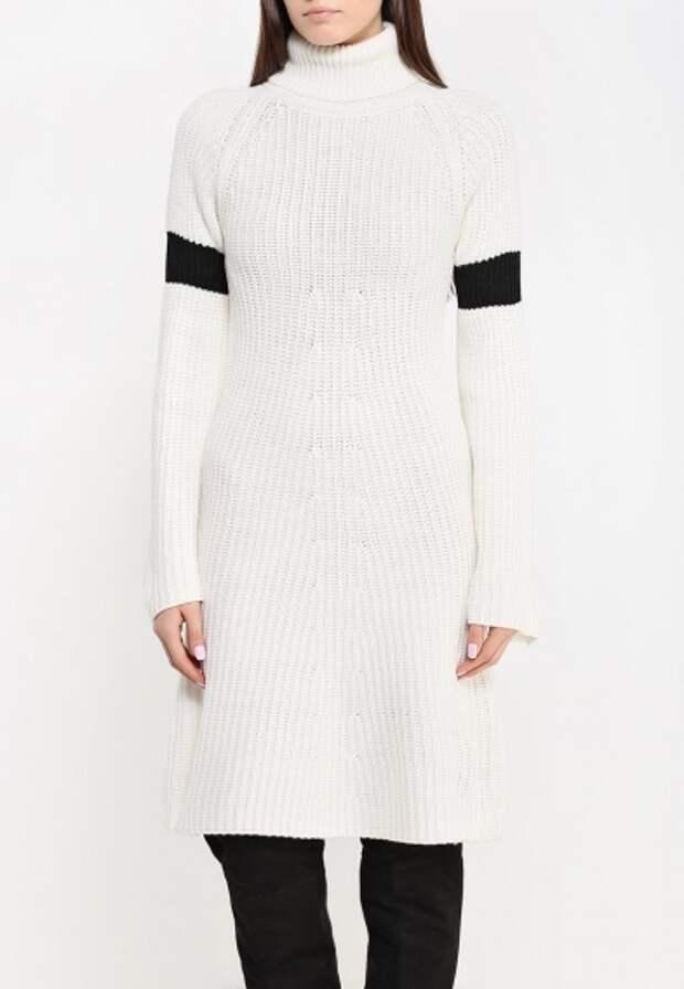 Как носить трикотажное платье зимой
