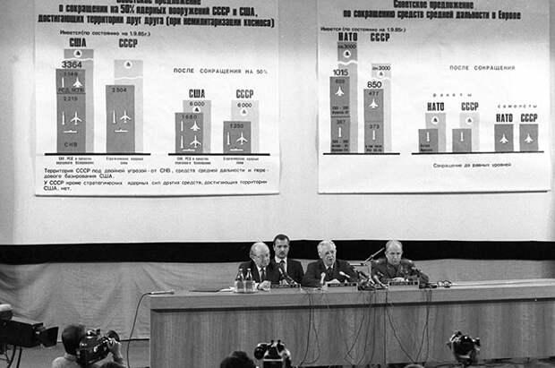 Пресс-конференция для советских и иностранных журналистов, проводимая в связи с новыми предложениями СССР по вопросам ядерных и космических вооружений. Сергей Ахромеев — крайний справа. 1985 г.