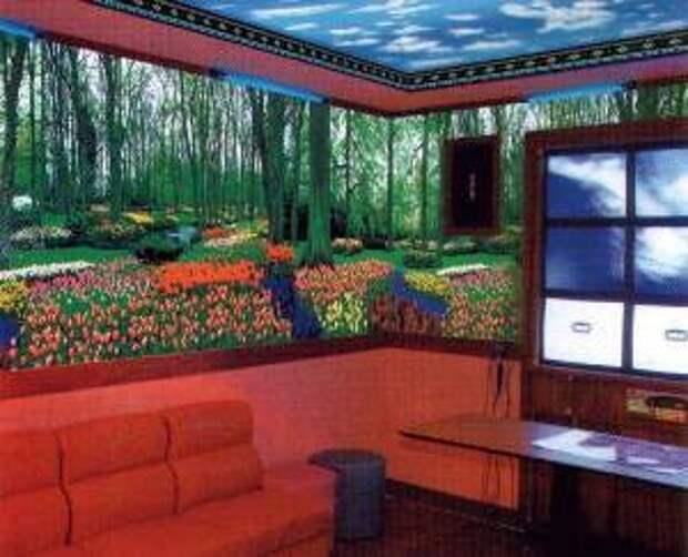 Флуоресцентные кибер-покрытия для потолков и стен