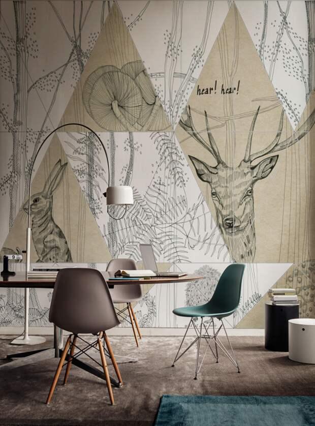 Оригинальное решение для оформления рабочего пространства графическими рисунками на всю стену