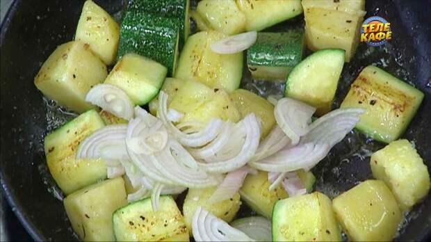 Филе сибаса с картофелем и цукини