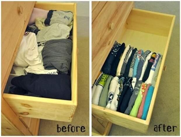Складывайте вещи вертикально, чтобы навсегда избавиться от беспорядка в шкафу.