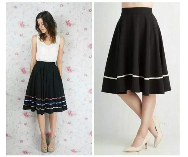 Варианты декора черной юбки