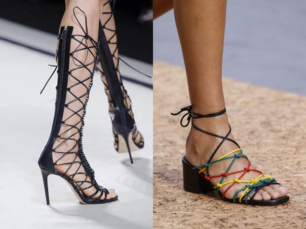 Модные босоножки со шнурками и завязками весна-лето 2016
