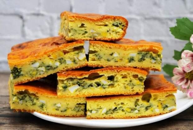 Ленивый заливной пирог с зеленью и яйцом. Вкусная и простая закуска за 10 минут 2