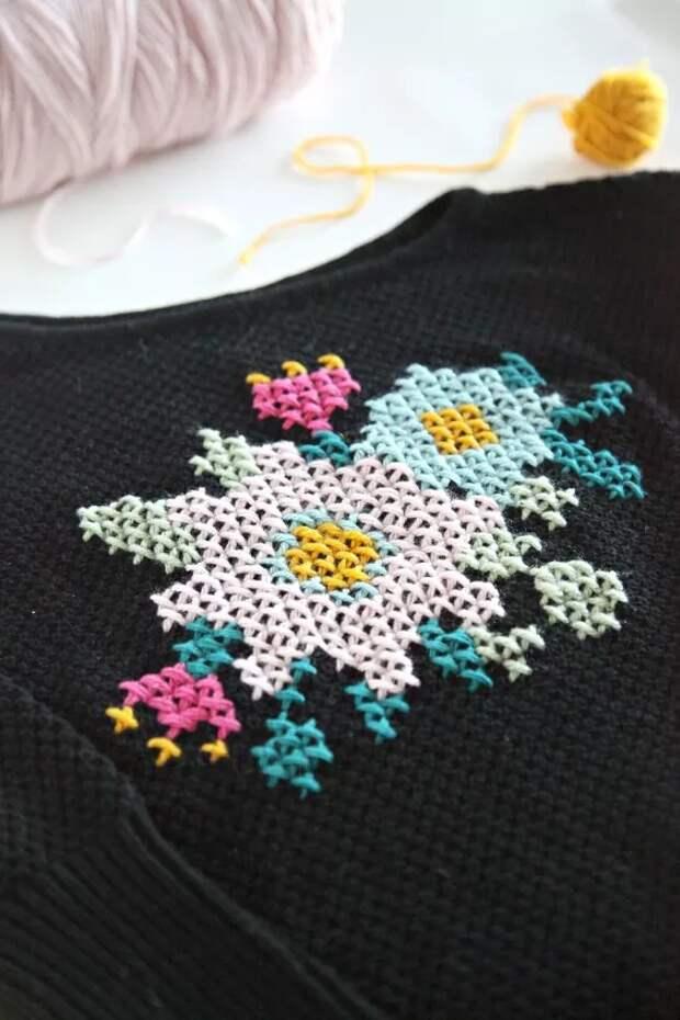 Вышивка крестиком на свитере
