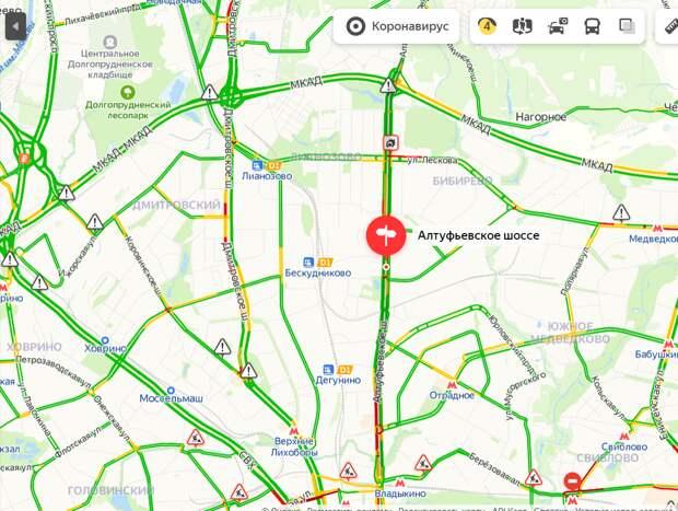 Загруженность Алтуфьевского шоссе утром 2 июня — четыре балла