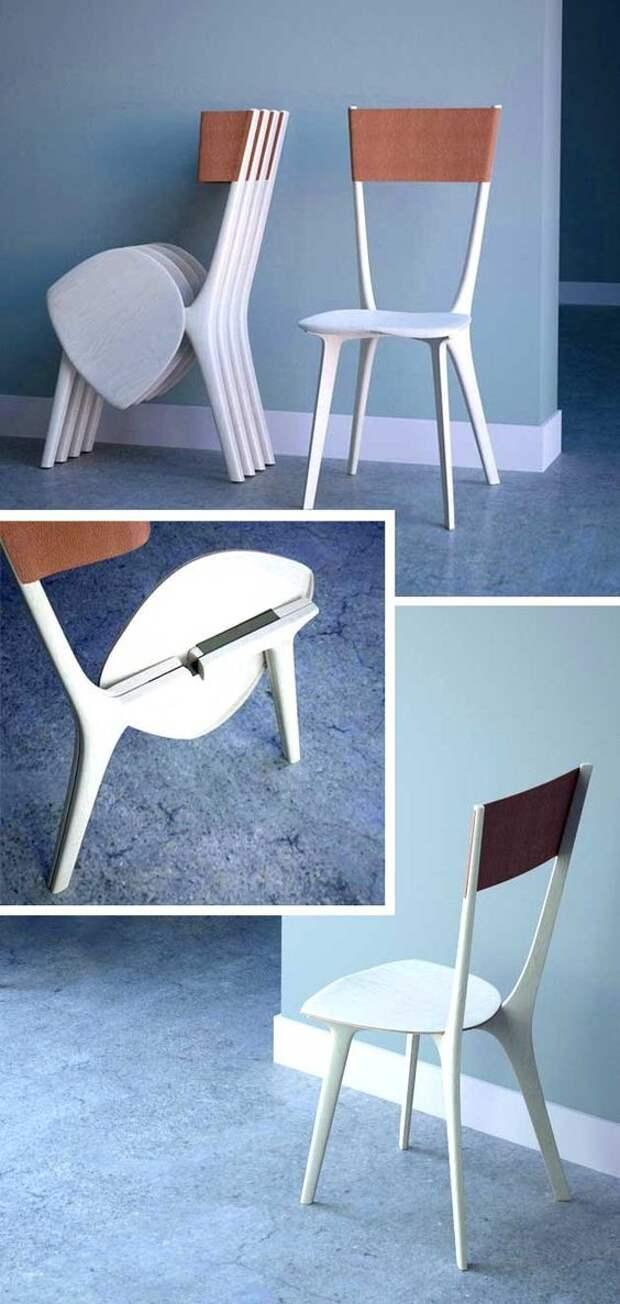 Очень компактные стулья и столы важное, дизайн, полезное, экономия