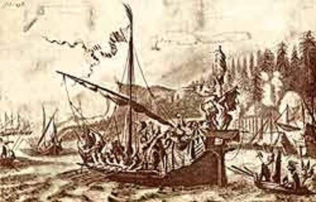 Гравюра из книги: Я. Я. Стрейса «Три путешествия», М., 1935. На рисунке автора – Стенька Разин и персидская княжна