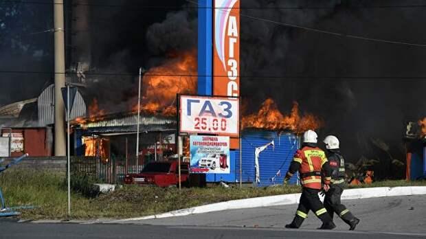 В МЧС назвали причину пожара на АЗС в Новосибирске