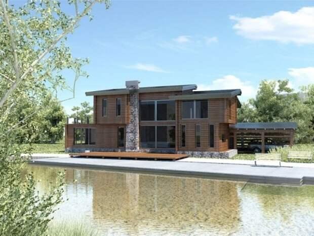 Большой деревянный дом с камином, собственной парковкой и террасой, которая примыкает к собственному небольшому причалу.