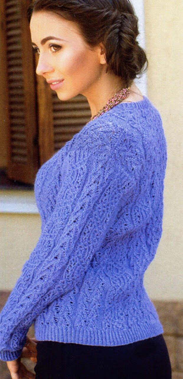 Пуловер с филигранными ажурными узорами