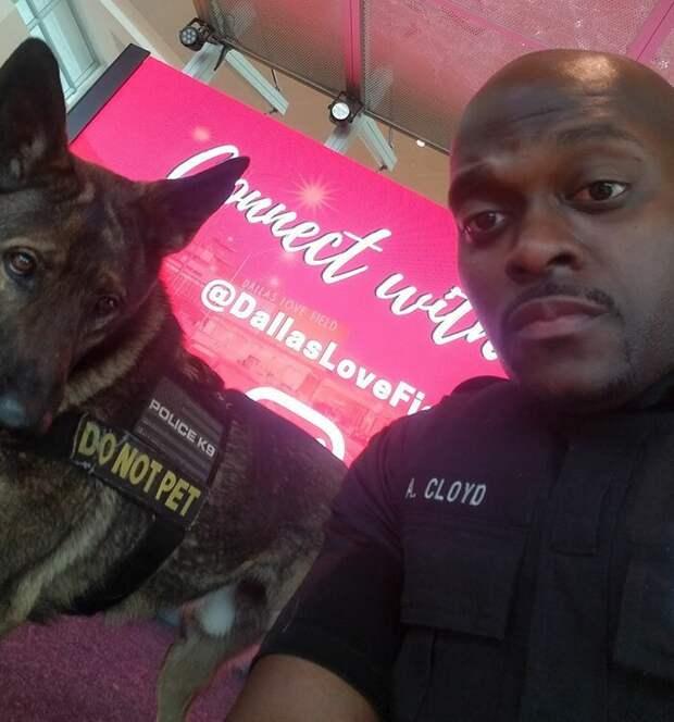 Девушка заметила, как полицейский в аэропорту делает селфи со служебной собакой