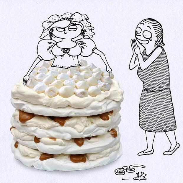 Когда иллюстратор включает продукты питания в свои забавные рисунки