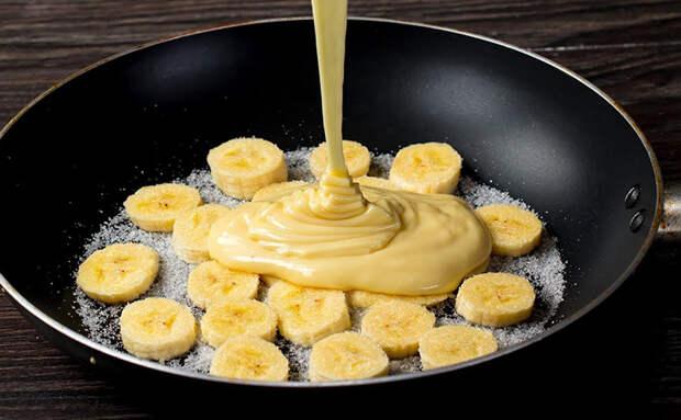 2 банана и 2 яйца: знаменитый пирог на сковороде без замеса теста