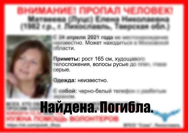 В Тверской области завершились поиски пропавшей жительницы