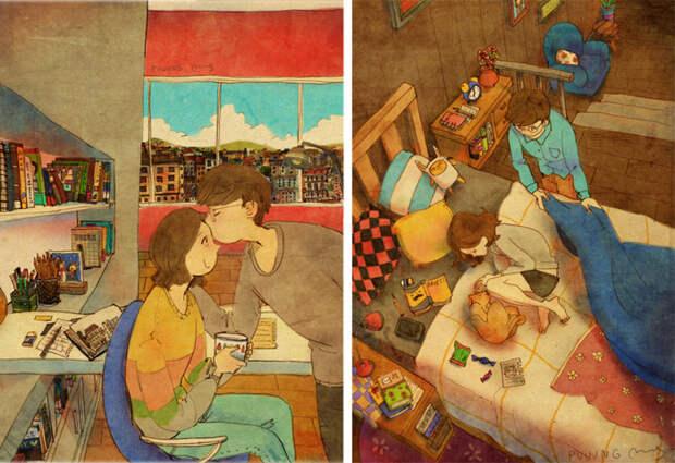 Картины о любви от  Puuung.