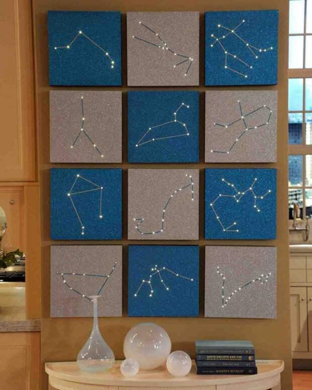 Панно с созвездиями и подсветкой