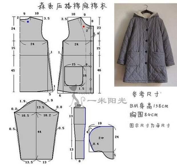 Простая выкройка пальто с капюшоном