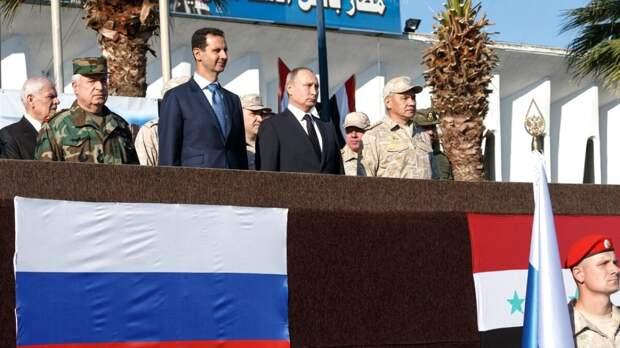 Путин и Асад на параде в Сирии, фото РИАФАН