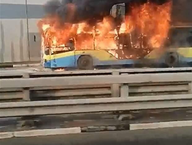 Опубликовано видео горящего в Рязани троллейбуса