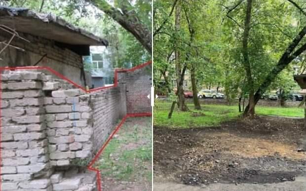В Щукине снесли ничейный кирпичный забор