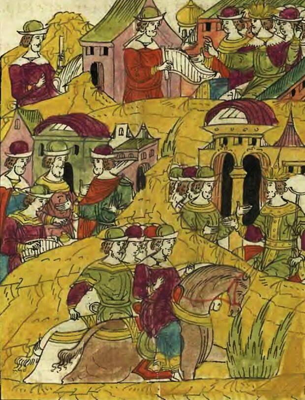Ногайские мирзы отъезжают к крымскому царю. Лицевой летописный свод, т. 23 - «Война двух царей»: шаг вперёд, два шага назад | Warspot.ru