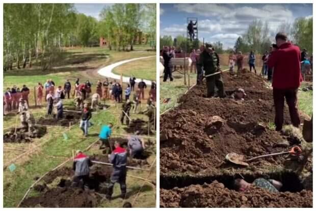В России на скорость копали могилы ради денежного приза: кадры странного соревнования