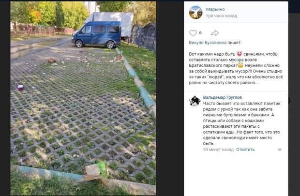 Парковку у Братиславского парка заваливают мусором
