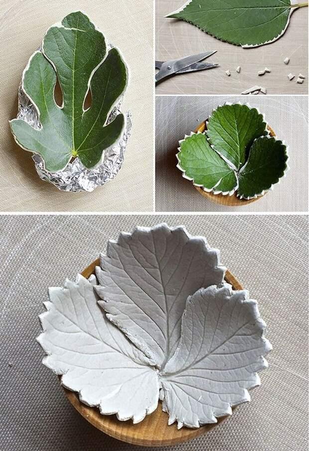 Интересные вазочки из листьев 1