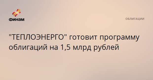 """""""ТЕПЛОЭНЕРГО"""" готовит программу облигаций на 1,5 млрд рублей"""