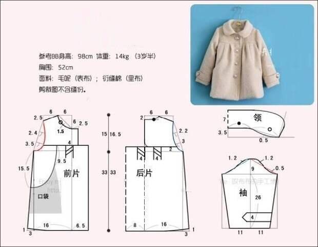 Простые выкройки пальто для детей и подростков